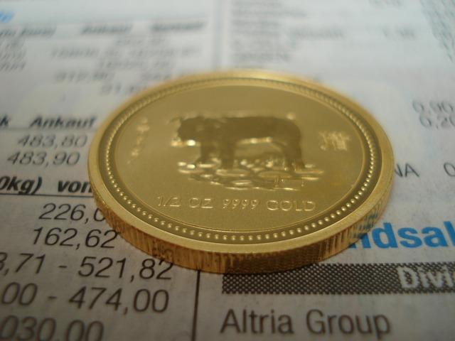 zlatá mince, zlato, býk